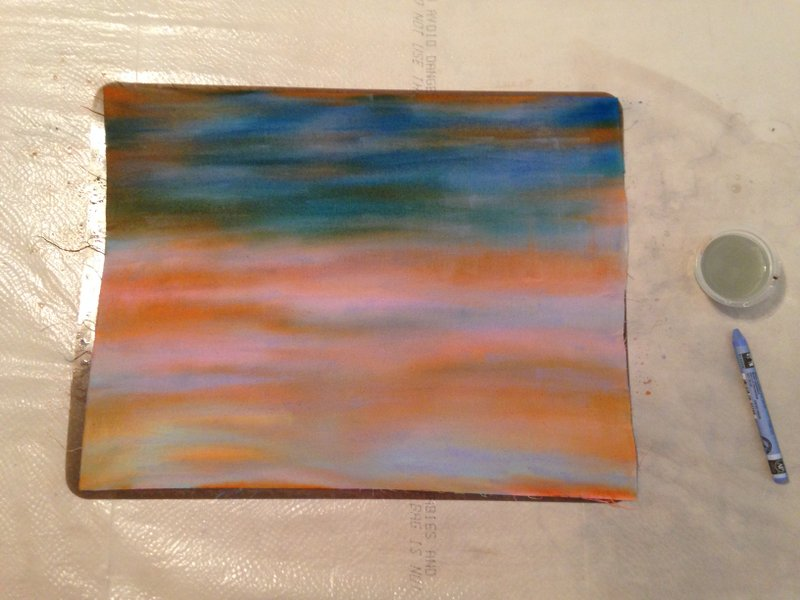 Colors blended with water with an inexpensive paint brush.