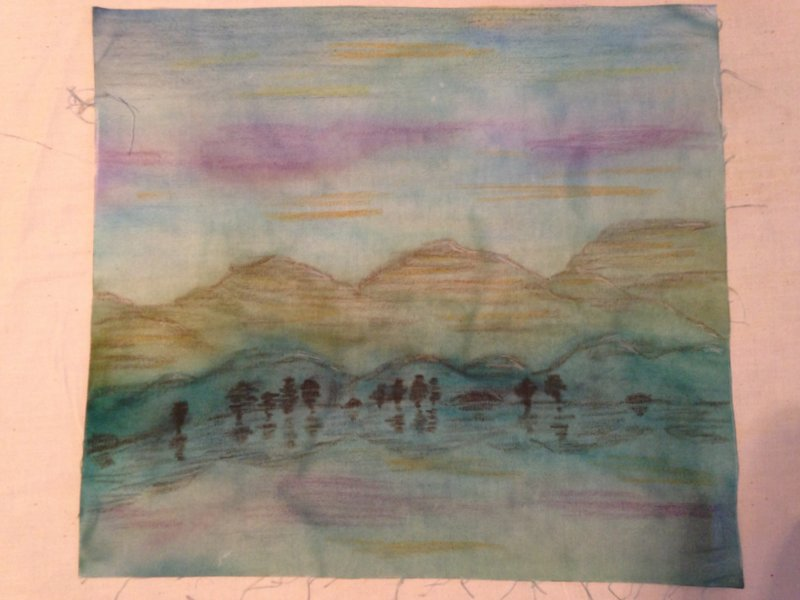 After heat -setting and allowing to dry for a couple of days, more layers of crayon pigment were added, heat-setting and drying after each layer.